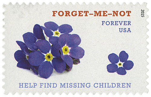 2015 First-Class Forever Stamp - Forget-Me -Not: Help Find Missing Children
