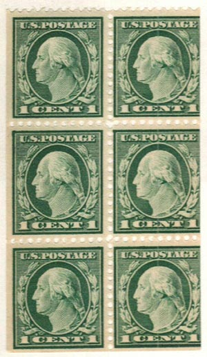 1917 1c green booklet pane of 6