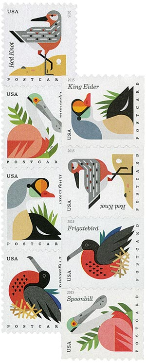 2015 Coastal Birds, set of 8 stamps