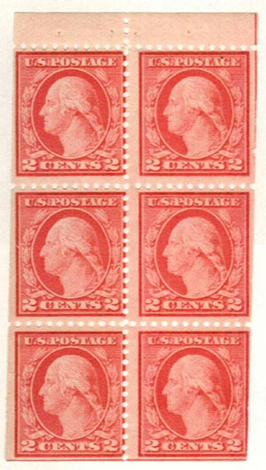 1917 2c Washington,rose(I),bklt pn(6)