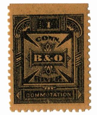 1885 1c blk,yel,perf 11,'Balt. & Ohio