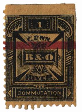 """1885 5c blk,yel,perf 11,""""Balt. & Ohio"""""""