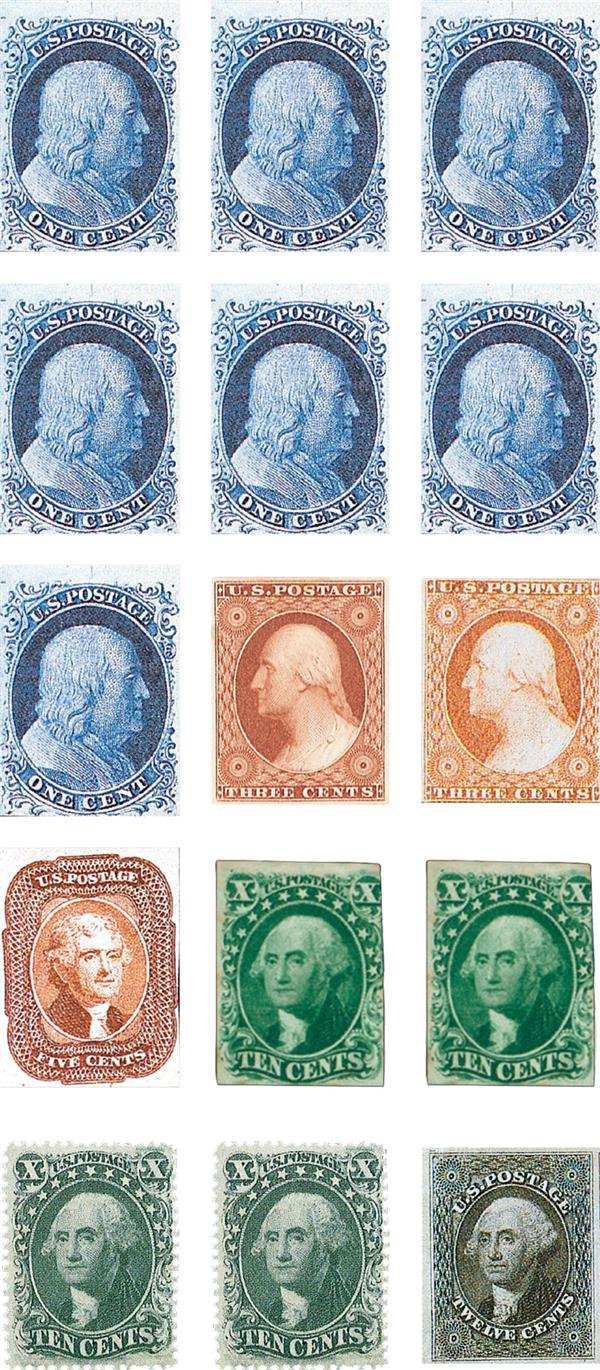 Complete Set of 15, 1851-57 Imperforates
