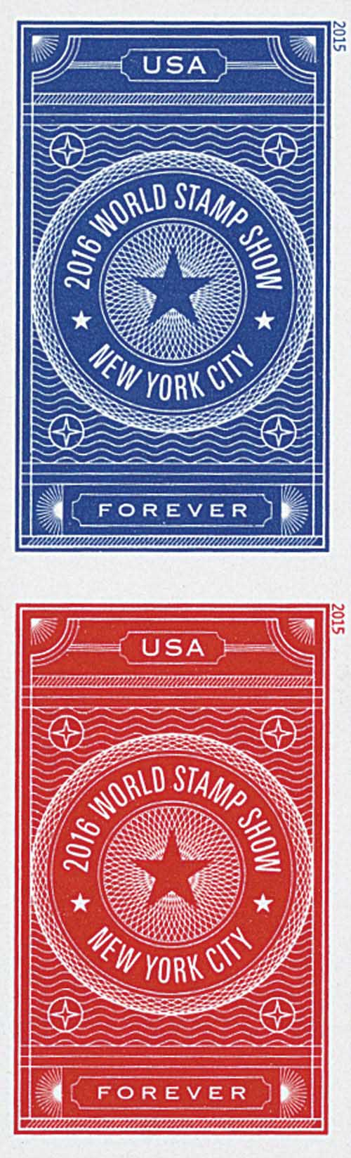 2015 First-Class Forever Stamp - Imperforate 2016 World Stamp Show, New York City