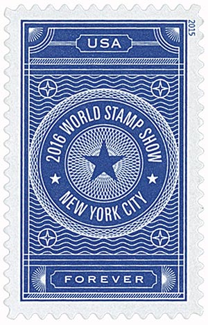 2015 First-Class Forever Stamp - 2016 World Stamp Show, New York City: Blue