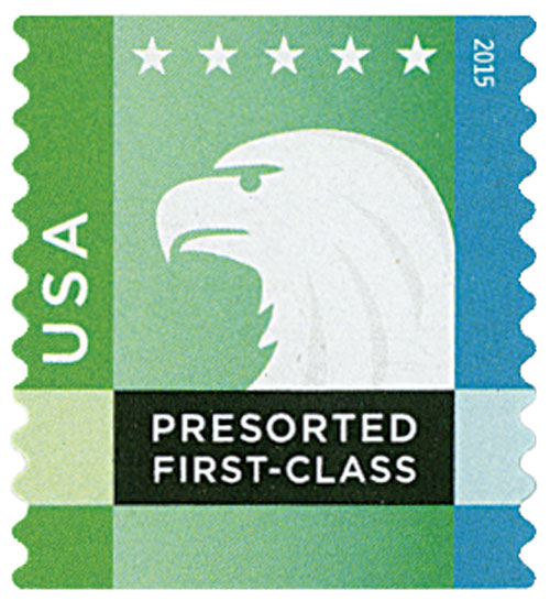 2015 25c Spectrum Eagle: Green behind USA, coil