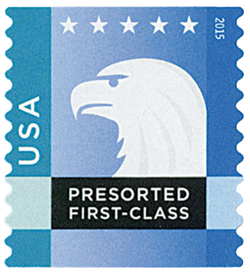 2015 25c Spectrum Eagle: Blue-Green behind USA, coil