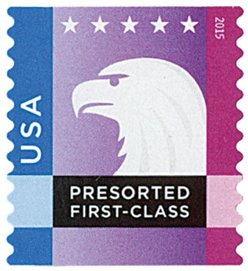 2015 25c Spectrum Eagle: Blue behind USA, coil