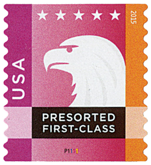 2015 25c Spectrum Eagle: Magenta behind USA, coil