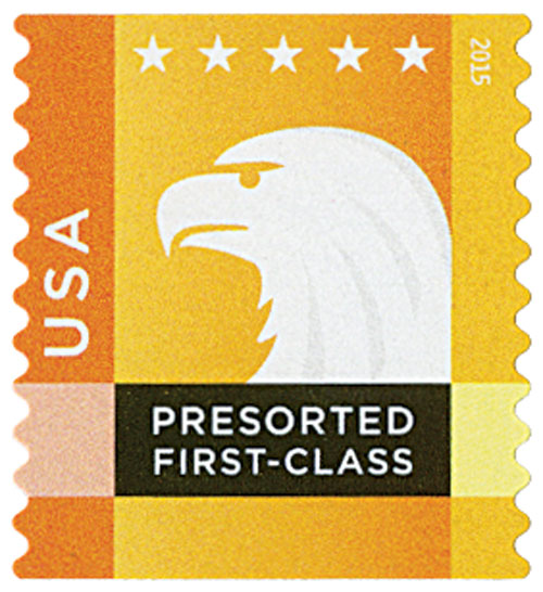 2015 25c Spectrum Eagle: Orange behind USA, coil