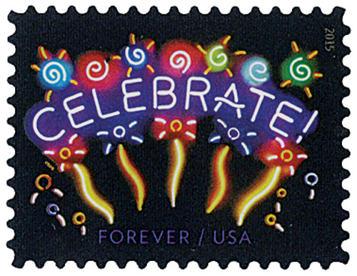 2015 First-Class Forever Stamp - Neon Celebrate