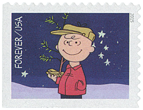 2015 First-Class Forever Stamp - Contemporary Christmas: Charlie Brown Holding His Tree