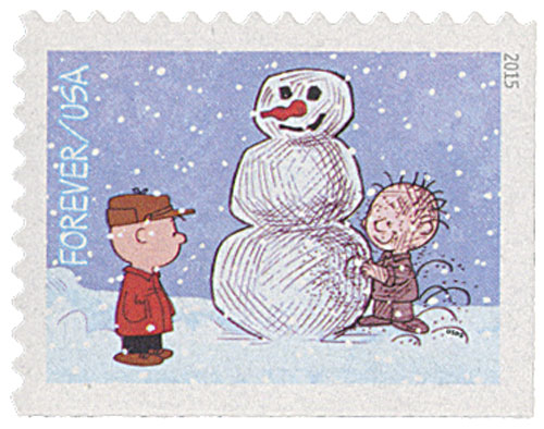 2015 First-Class Forever Stamp - Contemporary Christmas: Charlie Brown and Pigpen Making a Snowman