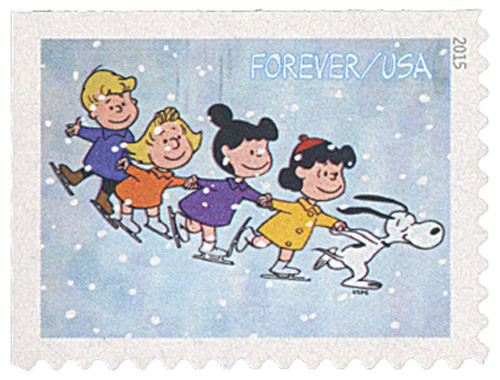 2015 First-Class Forever Stamp - Contemporary Christmas: Peanuts Gang Ice Skating