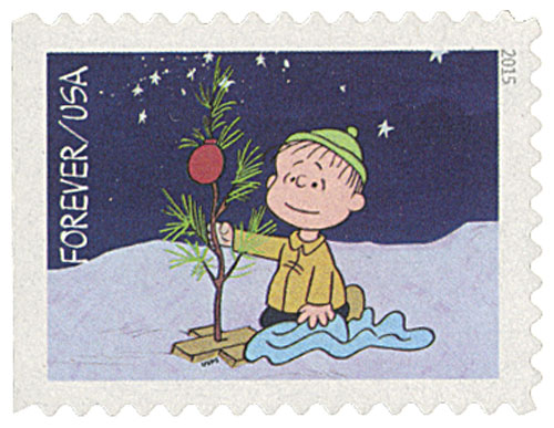 2015 First-Class Forever Stamp - Contemporary Christmas: Linus Decorating the Christmas Tree