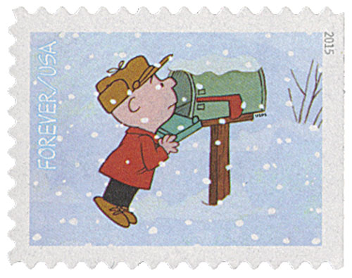 2015 First-Class Forever Stamp - Contemporary Christmas: Charlie Brown Checking the Mailbox
