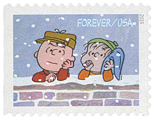 2015 First-Class Forever Stamp - Contemporary Christmas: Charlie Brown and Linus Leaning on Wall