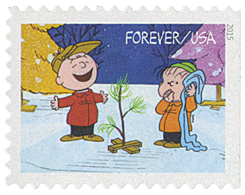 2015 First-Class Forever Stamp - Contemporary Christmas: Charlie Brown and Linus find their Christmas Tree