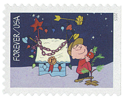 2015 First-Class Forever Stamp - Contemporary Christmas: Charlie Brown Hanging an Ornament on the Tree