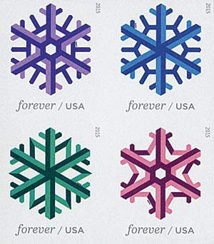 2015 First-Class Forever Stamp - Imperforate Geometric Snowflakes