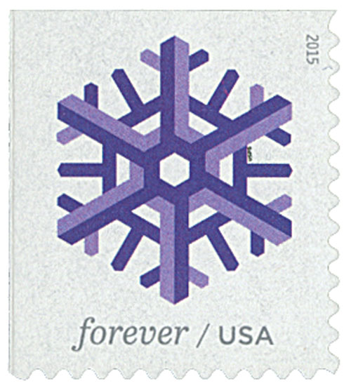 2015 First-Class Forever Stamp - Geometric Snowflakes: Purple