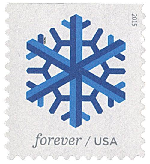 2015 First-Class Forever Stamp - Geometric Snowflakes: Blue