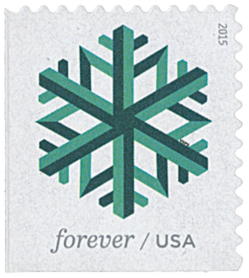 2015 First-Class Forever Stamp - Geometric Snowflakes: Green