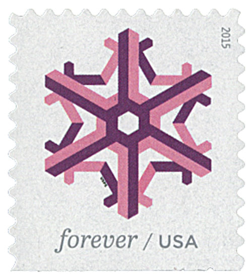 2015 First-Class Forever Stamp - Geometric Snowflakes: Pink