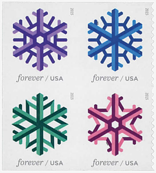2015 First-Class Forever Stamp - Geometric Snowflakes, block of 4 stamps