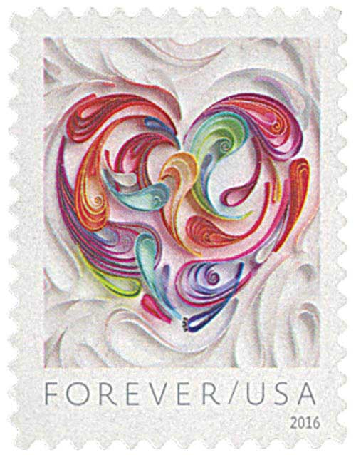 2016 First-Class Forever Stamp - Love Series: Quilled Paper Heart
