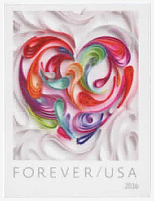 2016 First-Class Forever Stamp - Imperforate Love Series: Quilled Paper Heart