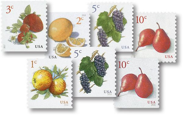 2016-18 Fruit, collection of 7 stamps