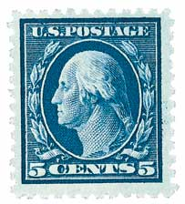 1917 5c Washington, blue