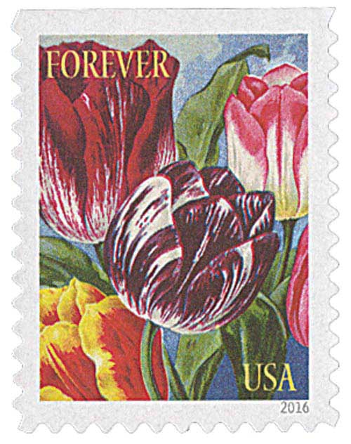 2016 First-Class Forever Stamp - Botanical Art: Red, Purple and Pink Tulips