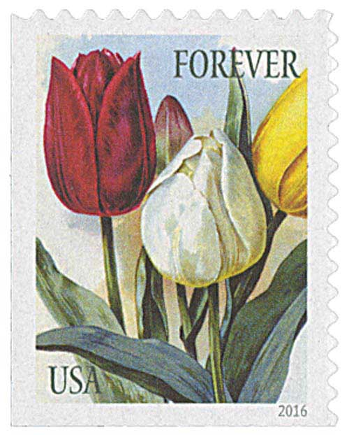 2016 First-Class Forever Stamp - Botanical Art: Red, White and Yellow Tulips
