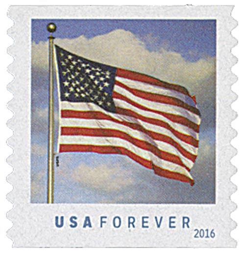 2016 First-Class Forever Stamp - U.S. Flag (Sennett Security Products, coil)