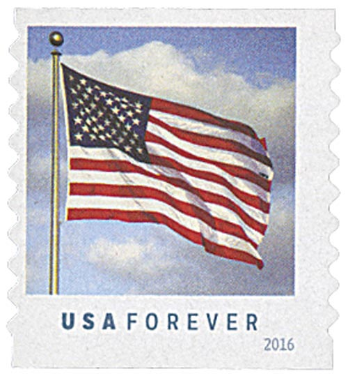 2016 First-Class Forever Stamp - U.S. Flag (Ashton Potter, coil)