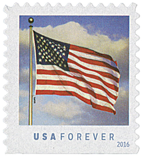 2016 First-Class Forever Stamp - U.S. Flag (Sennett Security Products, booklet)