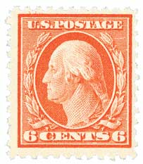 1917 6c Washington, red orange