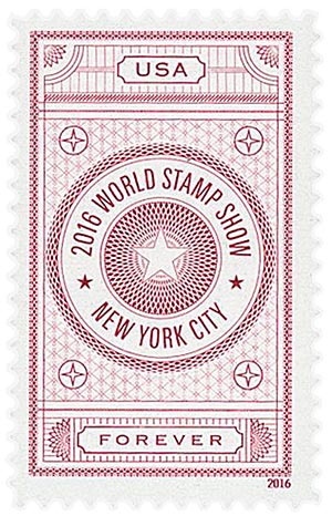 2016 First-Class Forever Stamp - World Stamp Show: Red Vignette