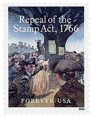 2016 First-Class Forever Stamp - Repeal of the Stamp Act, 1766