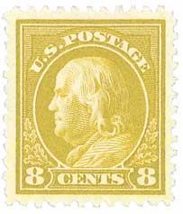 1917 8c Franklin, olive bister, perf 11