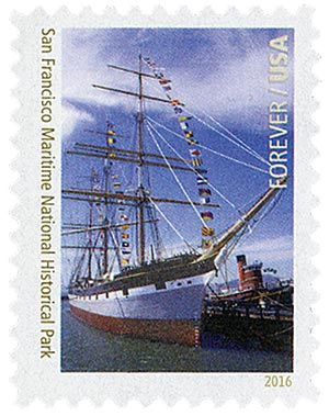 2016 First-Class Forever Stamp - National Parks Centennial: San Francisco Maritime National Historical Park