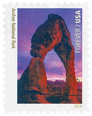 2016 First-Class Forever Stamp - National Parks Centennial: Arches National Park