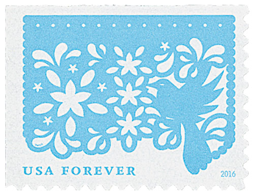 2016 First-Class Forever Stamp - Colorful Celebrations: Light Blue Bird with White Flowers