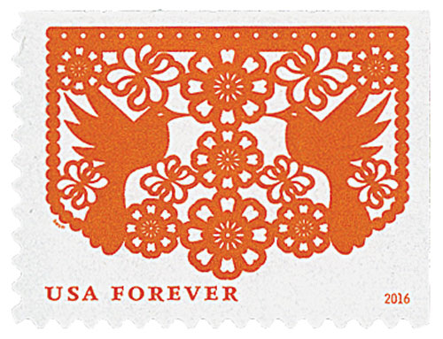 2016 First-Class Forever Stamp - Colorful Celebrations: Orange Birds and Flowers