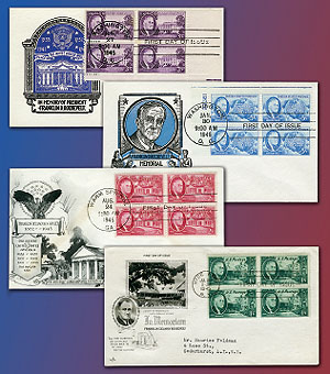 1946 Roosevelt Memorial 4 Block Covers