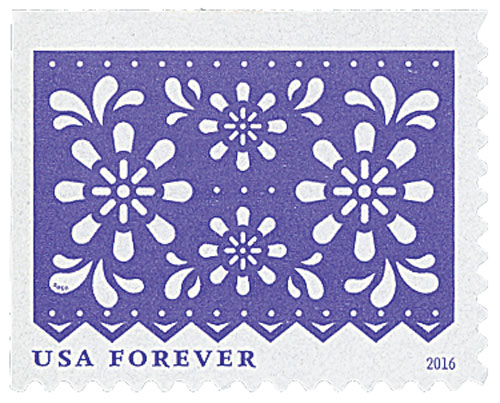 2016 First-Class Forever Stamp - Colorful Celebrations: Violet with White Flowers