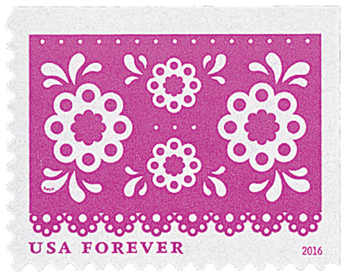 2016 First-Class Forever Stamp - Colorful Celebrations: Pink with Four White Flowers