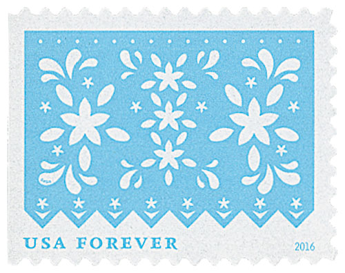 2016 First-Class Forever Stamp - Colorful Celebrations: Light Blue with White Flowers